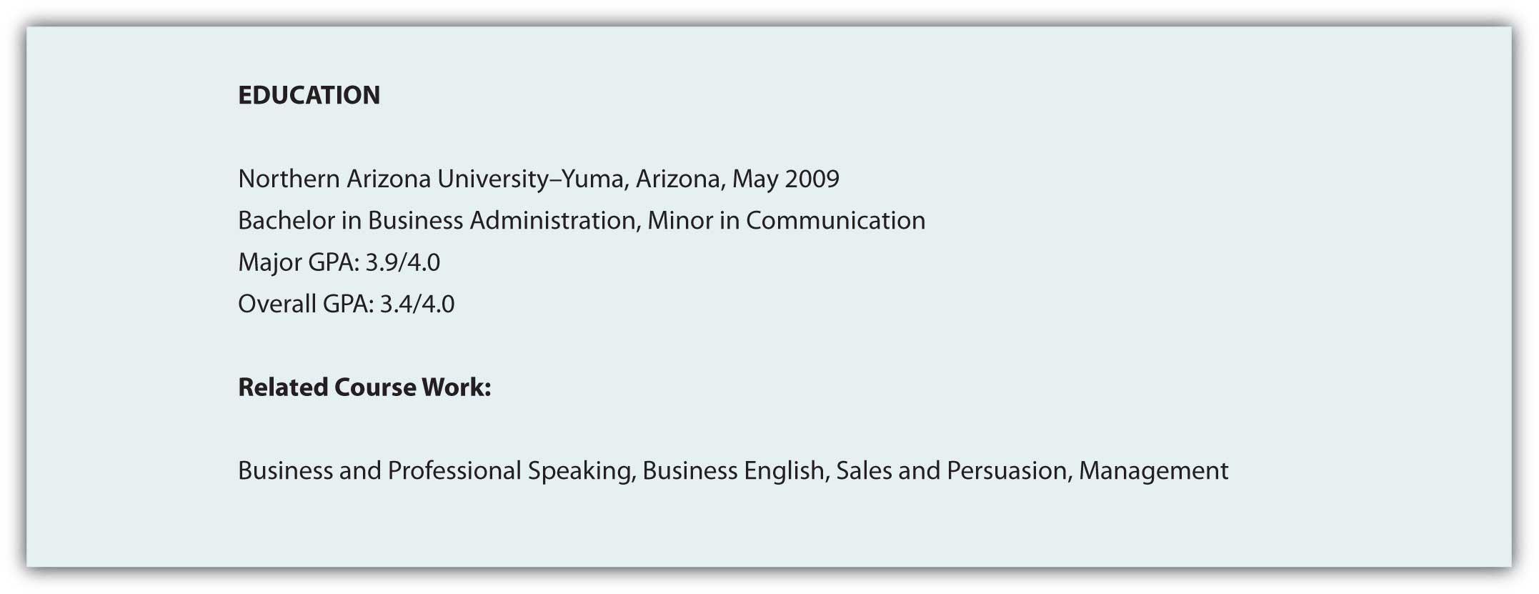resume relevant coursework sample