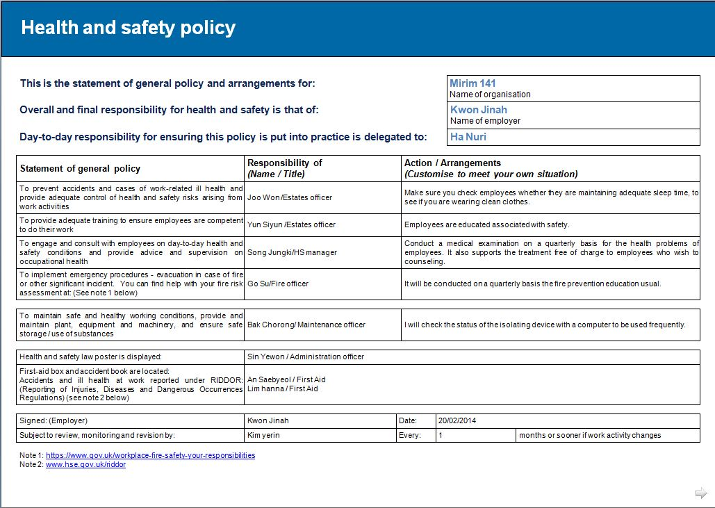 Safety Plan Template Letters – Sample Health and Safety Policy