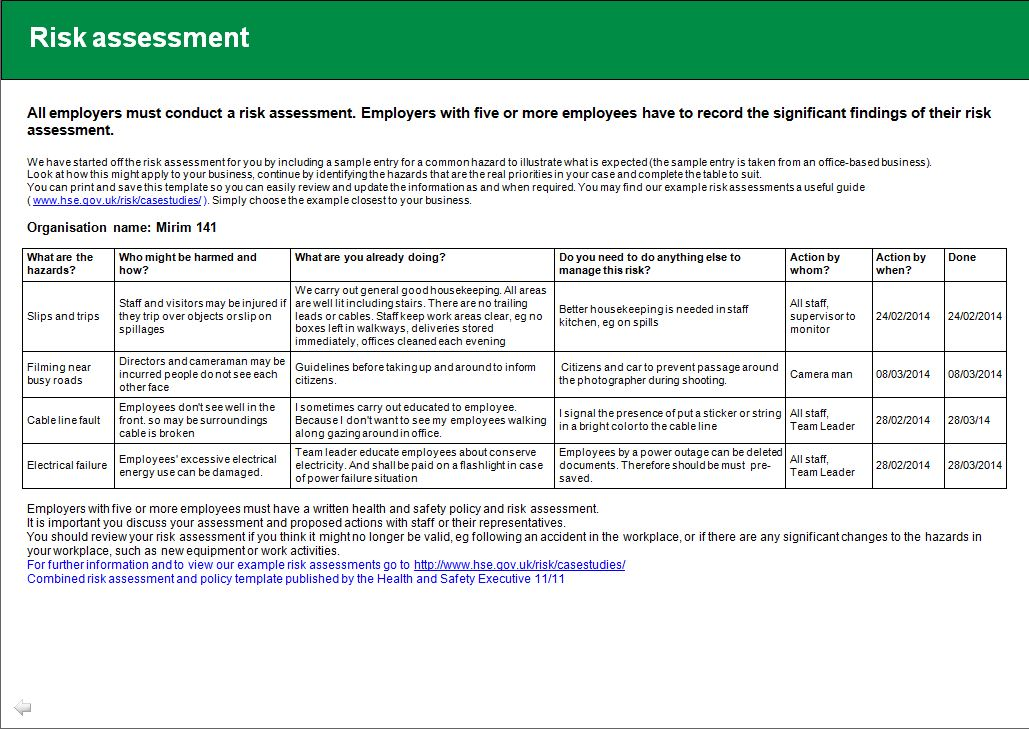 Health and Safety implications/ Risk assessment report Jin Ah Kwon