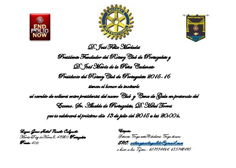 Invitación cambio de collares Rotary Club Portugalete y Cena 13-7-15