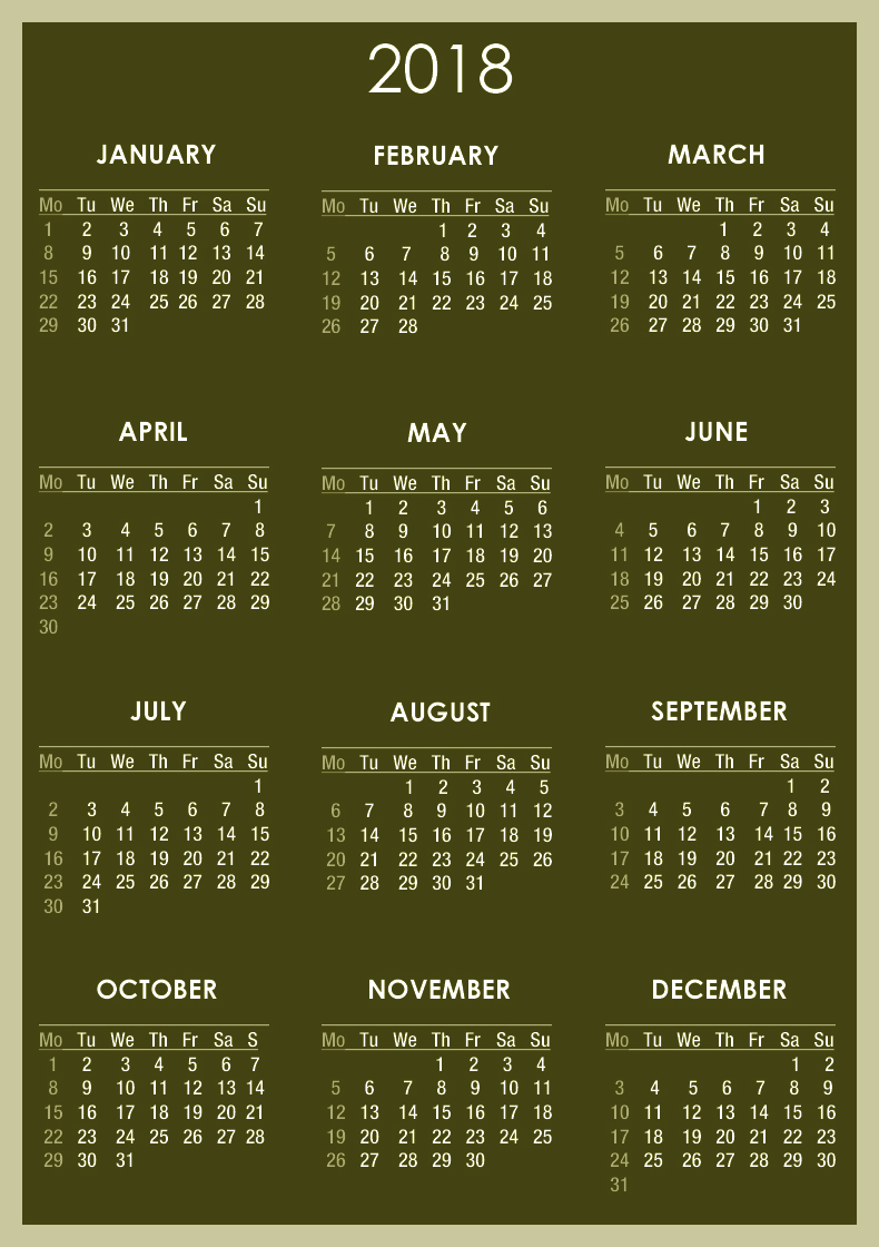Free Online Yearly Photo Calendar Free Yearly Blank Calendar Template Printable Blank Download Calendar 2018 2018 Calendar Printable For Free