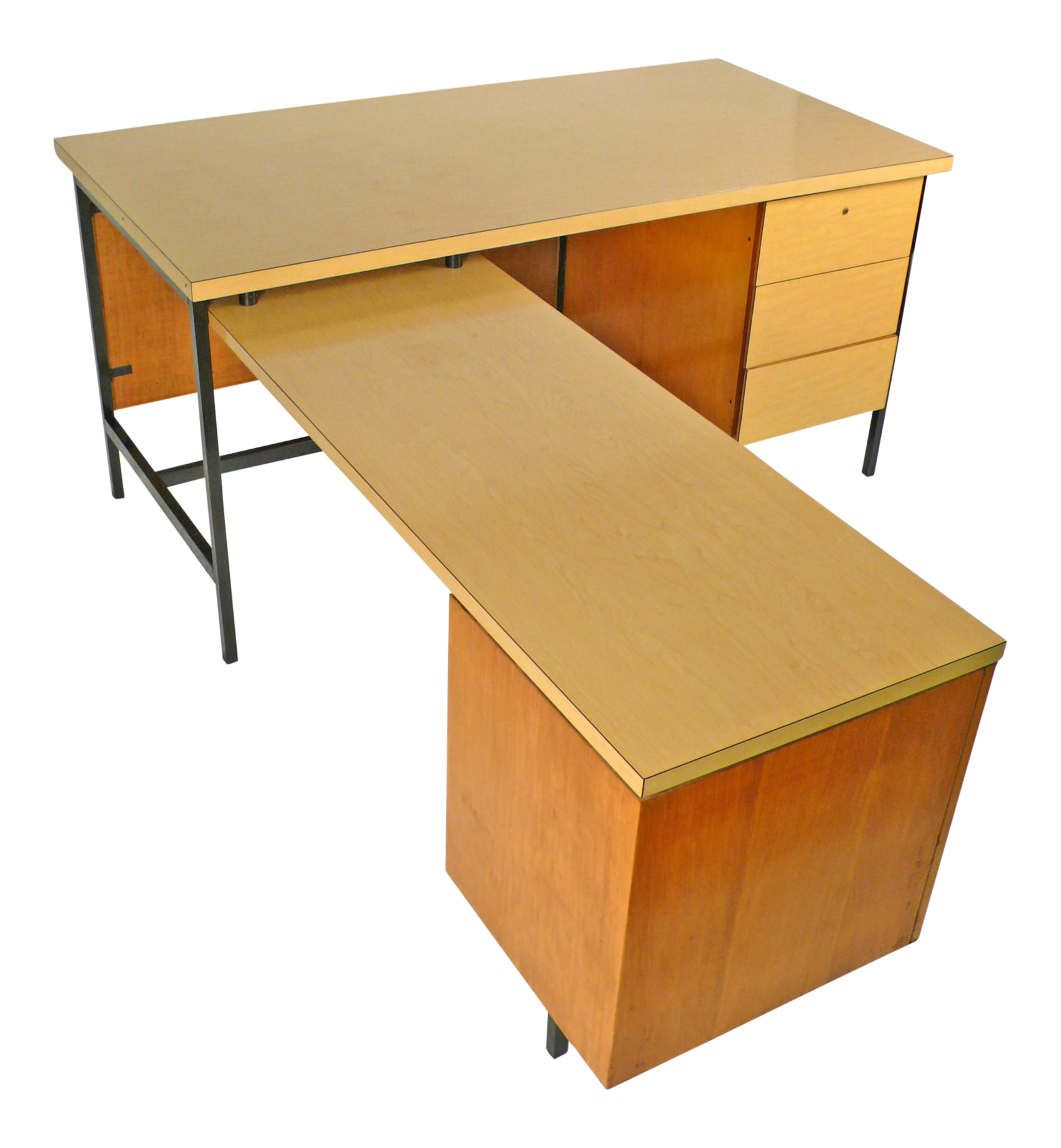 Knoll International Beautiful Early Florence Knoll Desk And Return For Knoll International