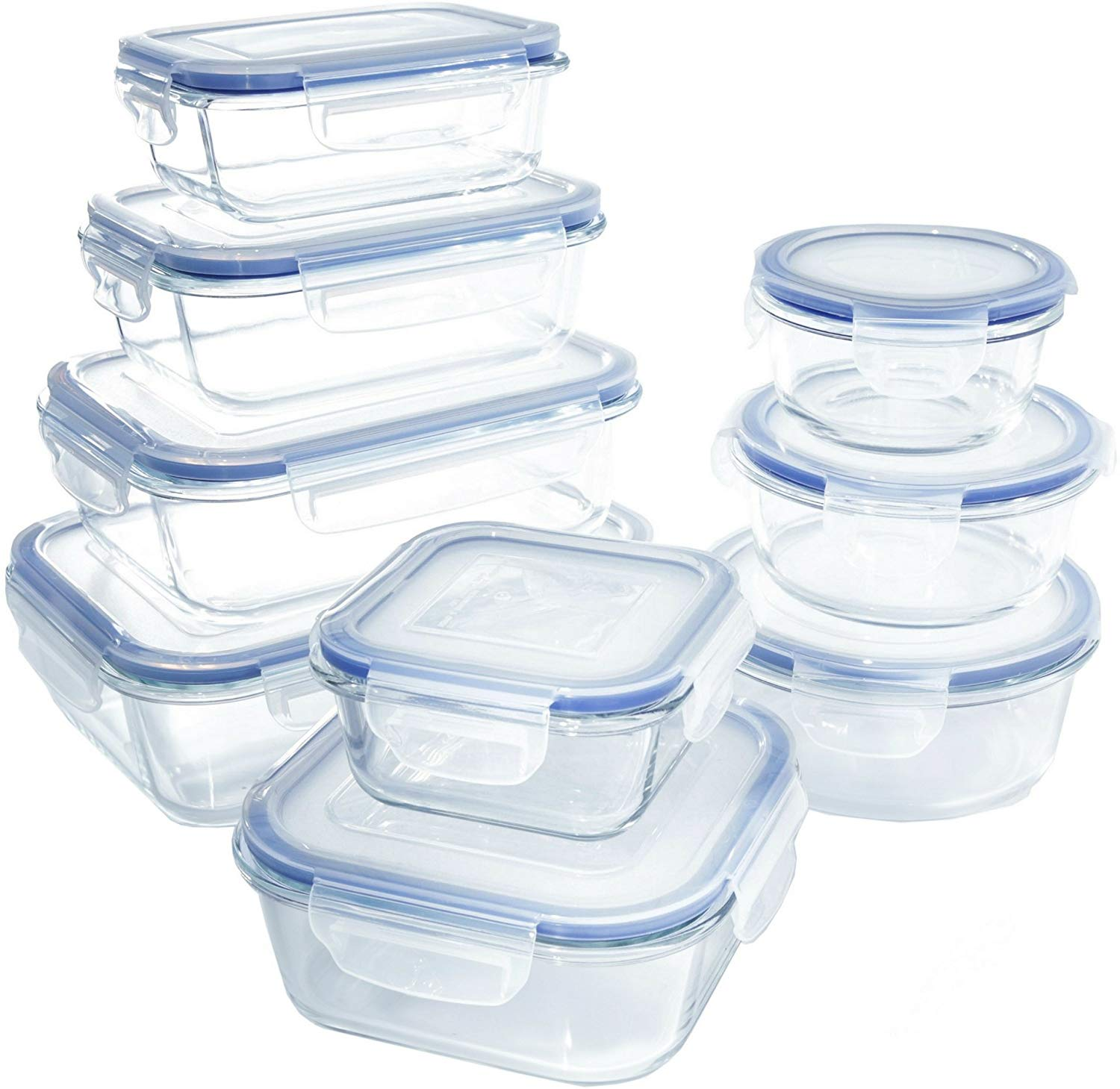 1790 Glass Food Storage Container Set With Lids 18 Pc