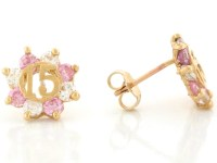 Yellow Gold Pink and White CZ Simulated Birthstone 15 Anos ...