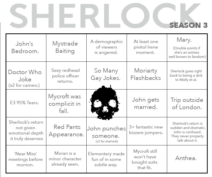 Sherlock 3 Bingo from Mystradedoodles on Tumblr Geek Central - food safety quiz