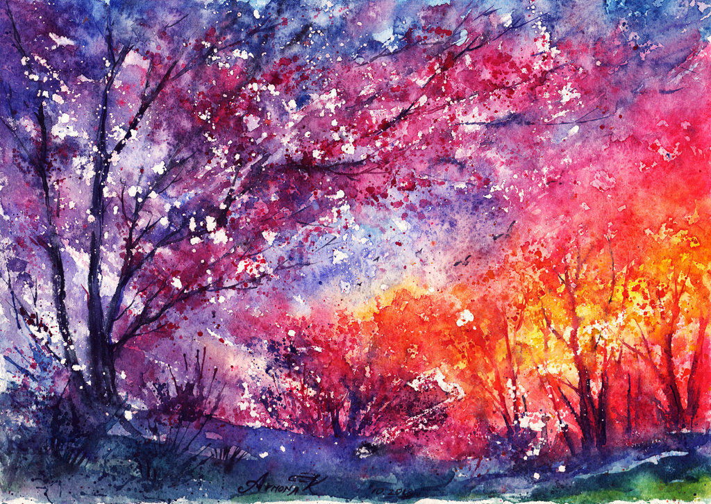 Never Fall In Love Wallpaper Illustration Art Painting Landscape Watercolor Anna Armona