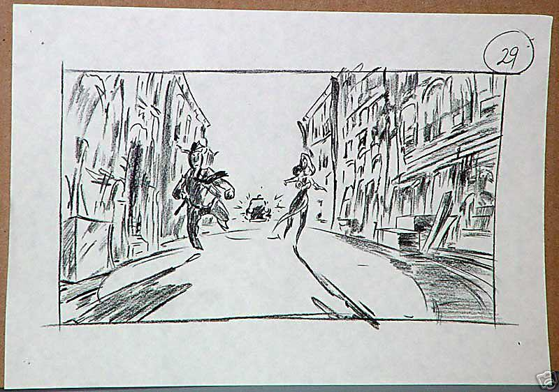 Who Framed Roger Rabbit storyboards - Jessica, Eddie and Benny the - film storyboards