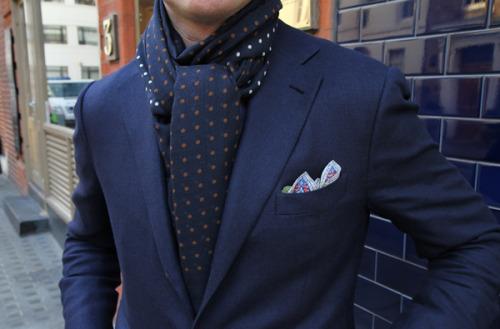 silk scarf wool suit