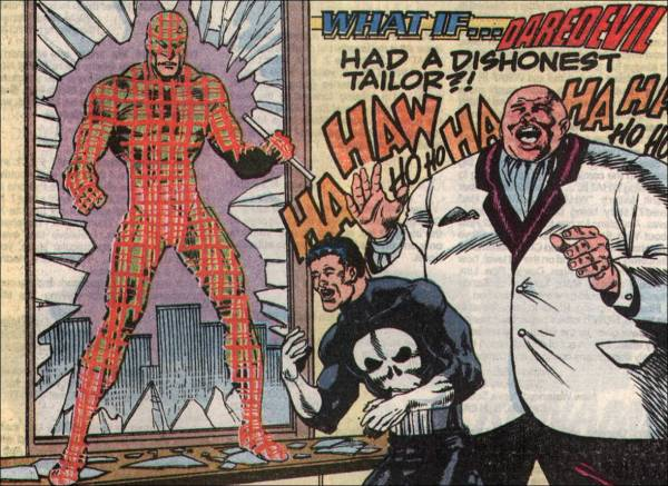 Punisher and Kingpin laughing at Daredevil wearing plaid costume