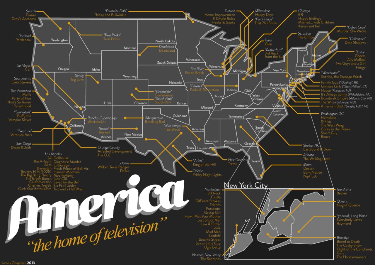 Landkarte der amerikanischen Fernsehserien