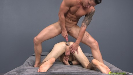 Jet and Haigan bossy scene, gay porn site Chaos men, ass tunnel plug