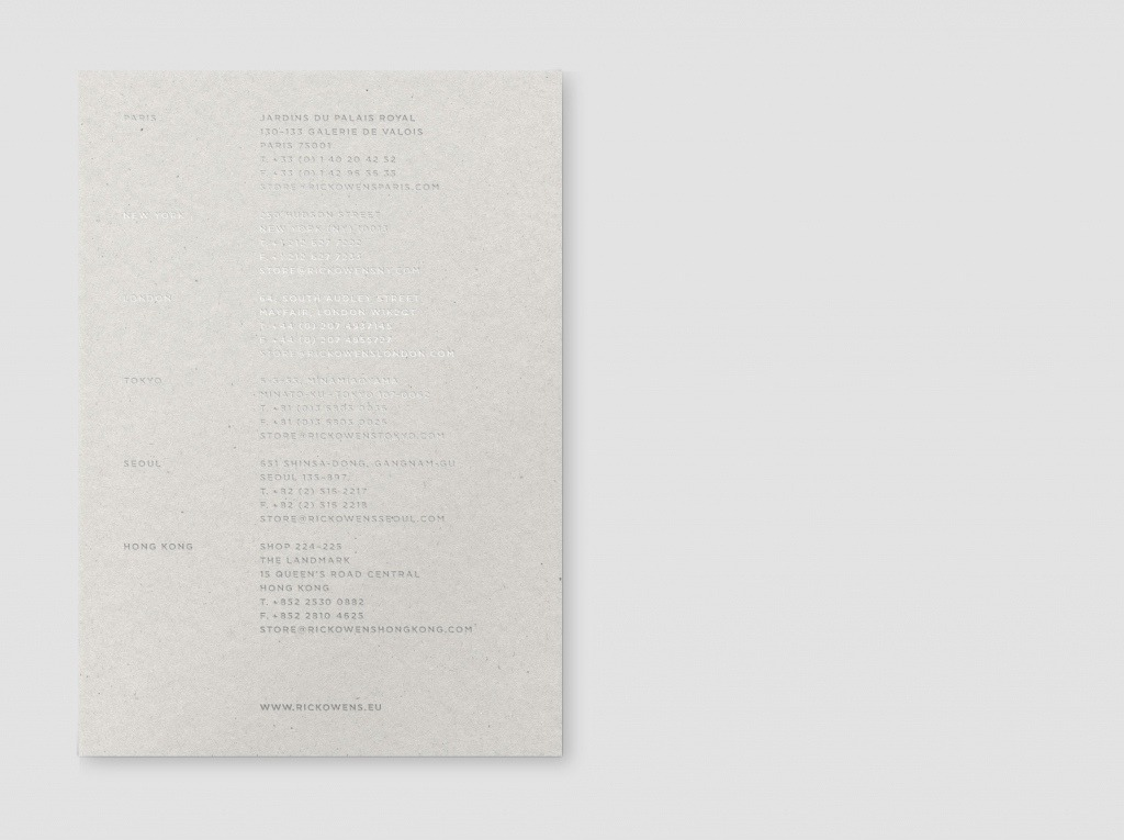 Rick Owens SS 2015 Fashion Show Invitations Pinterest Rick - sample retail resume template