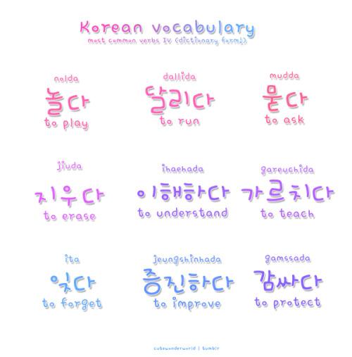 ❋ learn korean - common verbs ❋ Learn Korean \/ Hangul - verb list