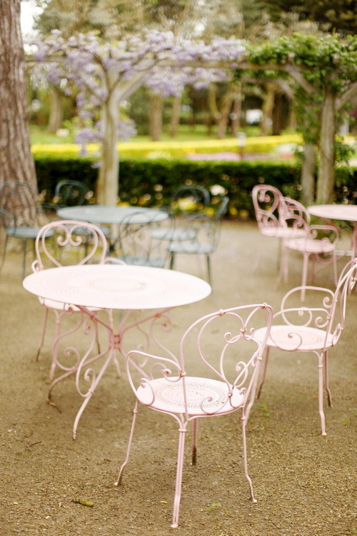 Gorgeous pink wrought iron outdoor furniture Home Sweet Home - warehouse cover letter