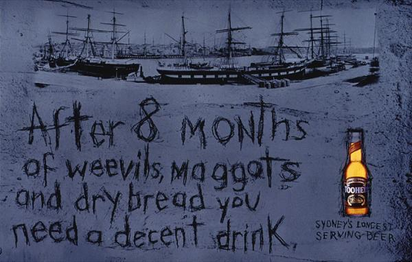 """8 MONTHS"" Print Ad for Tooheys Beer by Bartle Bogle Hegarty<br /><br /><br /><br /><br /><br /><br /><br /><br /><br /> Whitbread Beer Company Ads & Commercials Archive"