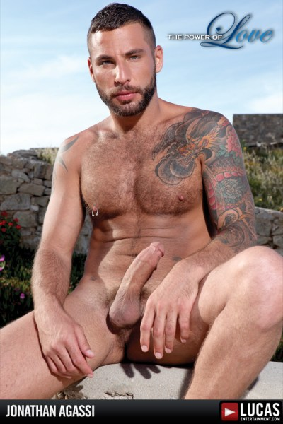 Tattooed, bearded gay porn star Jonathan Agassi.