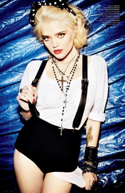 Sky Ferreira poses as Madonna in a spread for V Magazine by Mario Testino.