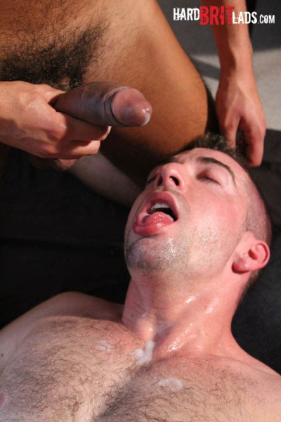 Gay porn star Scott Hunter bottoms for well-hung newcomer David Ken's uncut 10 inch cock.
