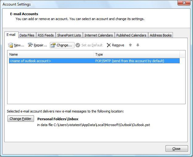 Check Existing Account Settings - Microsoft Outlook 2007