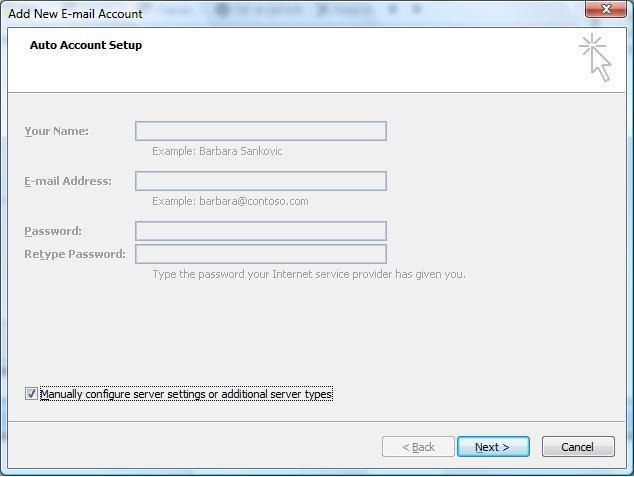 Setup A New Account - Microsoft Outlook 2007 - create outlook account