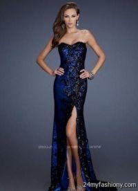 cobalt blue lace prom dress 2016
