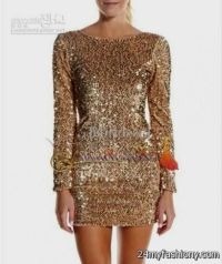 gold cocktail dress with sleeves 2016