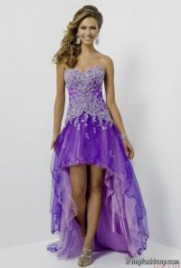 light purple high low prom dresses 2016