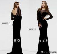 long sleeve black lace prom dress 2016-2017 | B2B Fashion