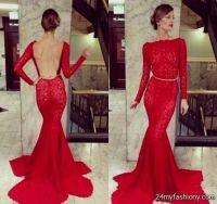 long sleeve red lace prom dress 2016-2017 | B2B Fashion