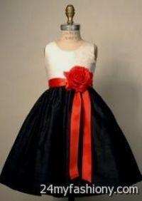 red black and white flower girl dresses 2016