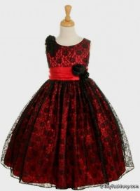 red and black lace flower girl dresses 2016