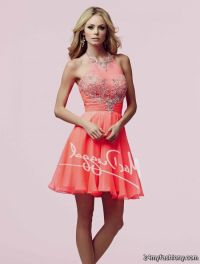 short neon coral prom dresses 2016
