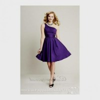 short one shoulder purple bridesmaid dresses 2016-2017 ...
