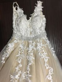 Awesome Never worn Beige Long lace bodice v neck floral ...