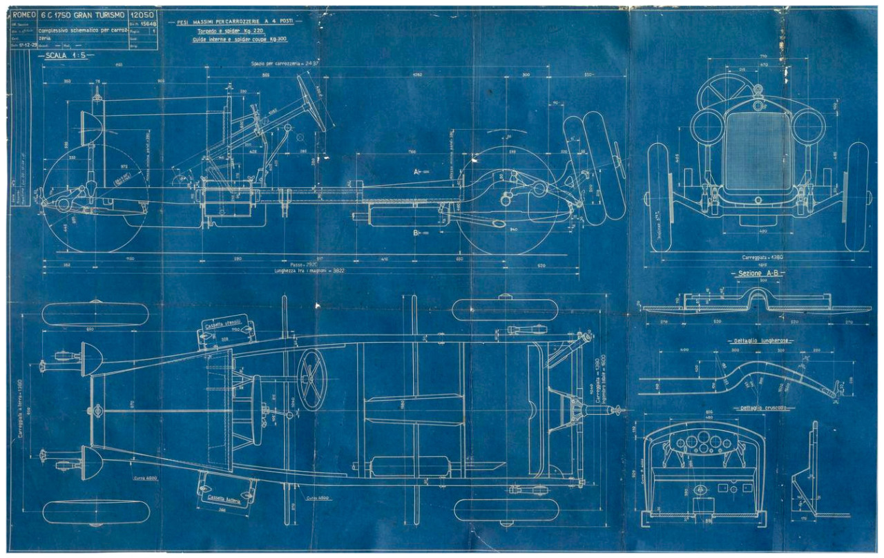 Plan d'une Alfa Romeo 6C 1750 Gran Tourismo, 1929 :: Bonhams