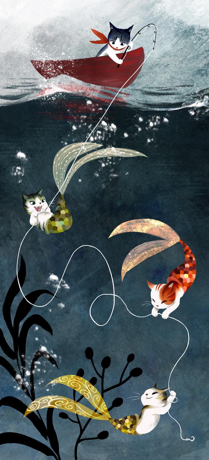 Fishing Girl Wallpaper Cat Illustration Cats Underwater Fantasy Ocean Sea Digital