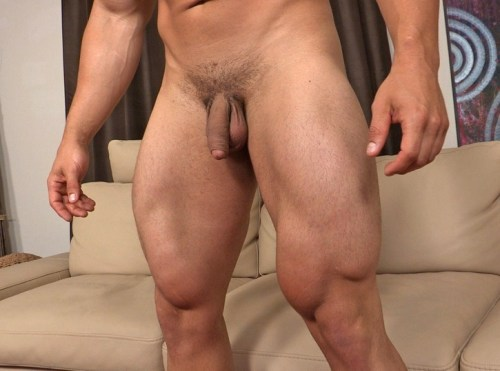 Sean Cody model Brock strokes his thick cock for the gay porn site.