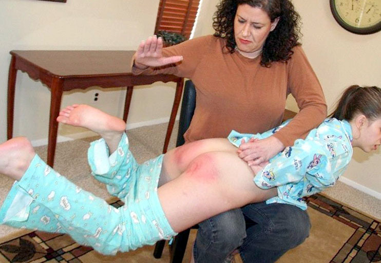 mother and daughter spanked together