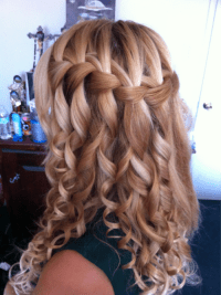 hair curly prom waterfall braid rubb-some-dirt-on-it