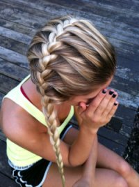 hair girl tan blonde nature french outside braids ...