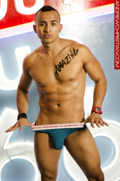 sexy Andrew Christian gay underwear model bulges.