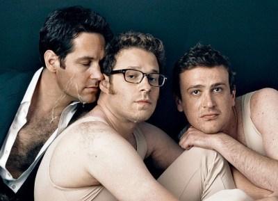 Paul Rudd, Seth Rogen, Jason Segel male celebrity gay facials porn