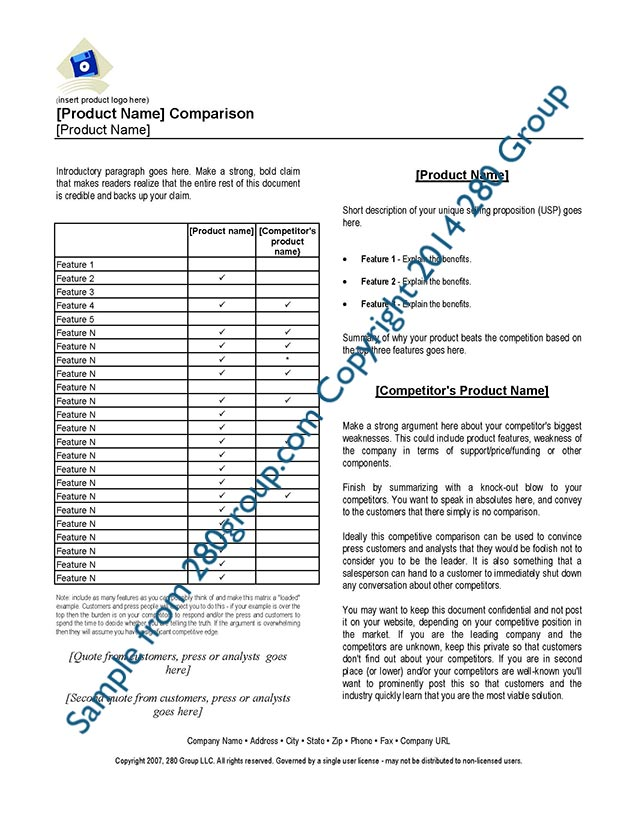 Competitive Analysis Toolkit 280 Group Product Management - sample competitive analysis 2