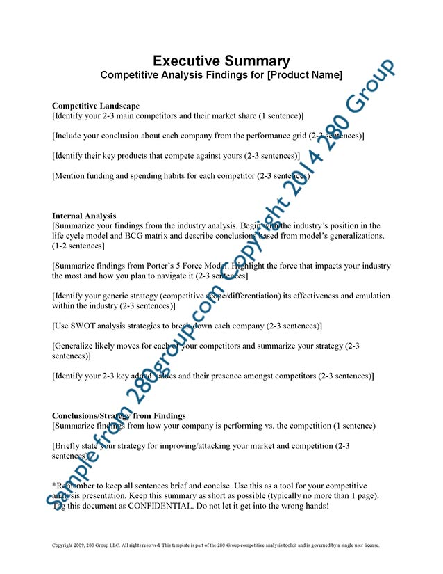 Competitive Analysis Sample - Resume Template Sample