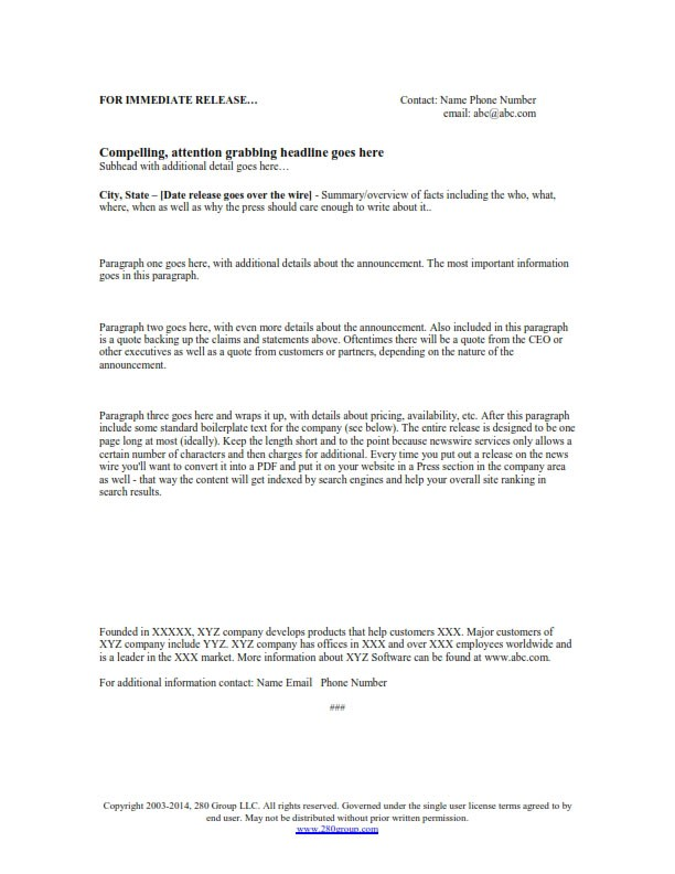 Free Press Release Template 280 Group Product Management - press release template