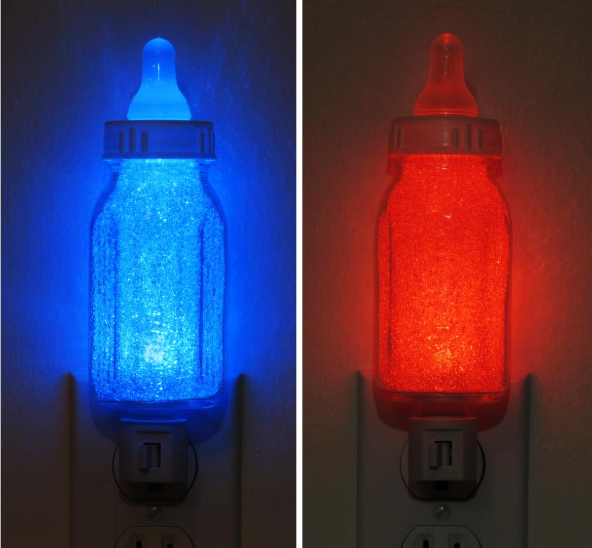 Boys Room Night Light Infant Baby Bottle Blue Or Red Night Light Lamp Boy Girl