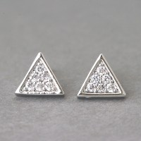 Swarovski Triangle Earrings Stud White Gold on Luulla