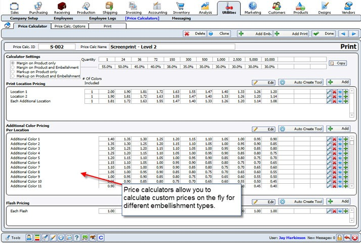 OnSite Business Management Software Screen Print Shopworks - product pricing calculator