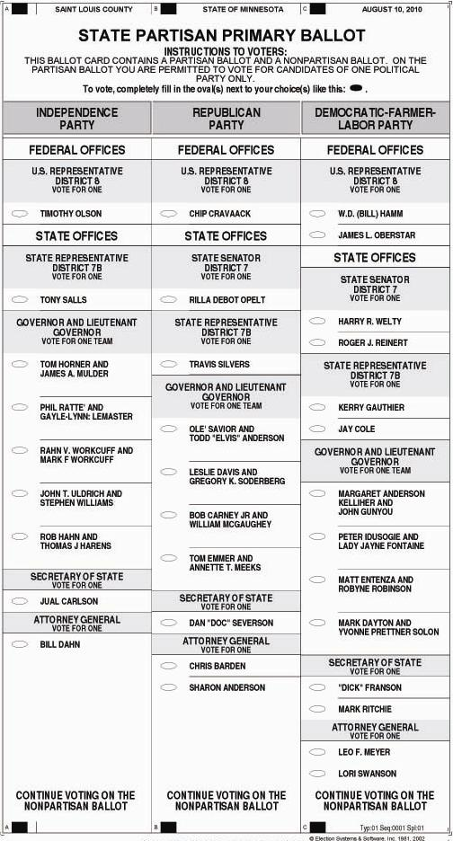 St Louis County Primary Election 2010 Sample Ballot - Perfect