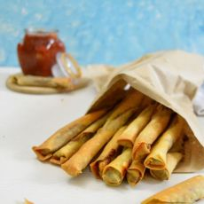 Appetizer spinach and cheese filo cigars